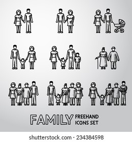 Multigenerational family freehand icons set with all ages family members. Vector