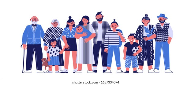 a multi-generational family together, young parents with children, grandparents and grandchildren on a white background, a large happy family, vector illustration of a flat cartoon.