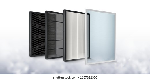 Multi-layer air filter Increase the efficiency of air purification to be cleaner, carbon layer, dust filter, germ filter, fiber.Realistic vector file.