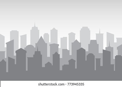 Multilayer Silhouette of a night city on a gray background.
