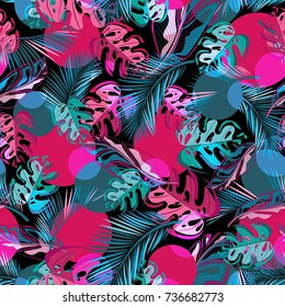 Multilayer vector seamless pattern. Abstract pattern with circles and tropical leaves