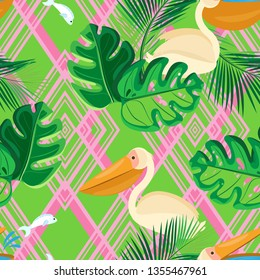 Multi-layer vector seamless pattern. Pattern of pink rhombuses, green tropical leaves and pelicans. Bright green background