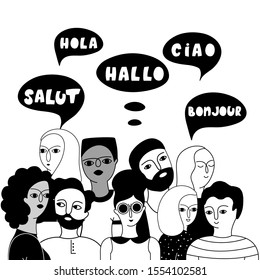 Multilingual group of people together vector illustration. Hello in English, French, Spanish, Italian languages in speech bubbles. Young multicultural male and female outline characters communication