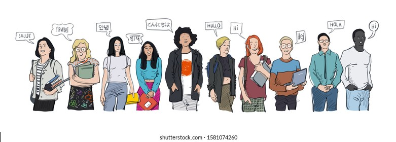 Multilingual Hello greeting vector illustration. Hello in languages and group of diverse people.  Diverse cultures, international communication concept. Friendly men and women saying Hi. - Shutterstock ID 1581074260