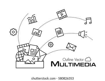 Multimedia box . outline style .