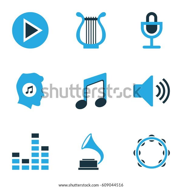 Multimedia Colored Icons Set Collection Music Stock Vector