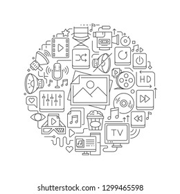 Multimedia concept in thin flat illustration. Multimedia line icons in round shape isolated vector illustration. Round design element with multimedia icons - Vector
