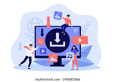 Multimedia content upload interface. Internet users downloading music, video piratic files. Tiny people at computer screen. Flat vector illustration for torrent data, digital content sharing concept