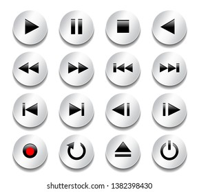 Multimedia control buttons. Gray metallic shiny buttons with black glossy icons. Technology signs and symbols. Vector illustration