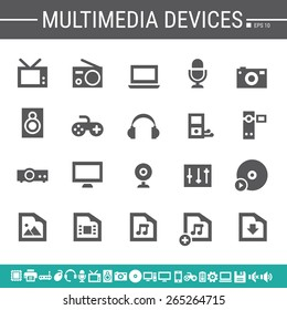 Multimedia devices simple black icons