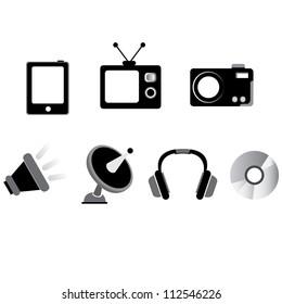 multimedia, electronic device icon set