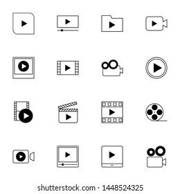 multimedia, film, video player, movie solid line icons set vector illustration. creative simple colored line icons set