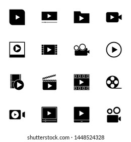 multimedia, film, video player, movie solid icons set vector illustration. creative simple glyph icons set