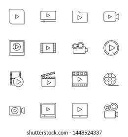 multimedia, film, video player, movie thin line icons set vector illustration. creative simple icons set