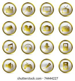Multimedia gold icons set. Illustration vector.