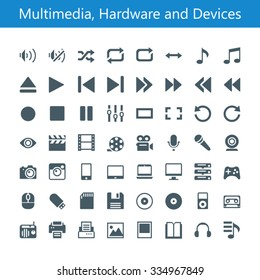 Multimedia, Hardware and Devices Icons. 56 glyph icons. Build on 16px grid pixel perfect.