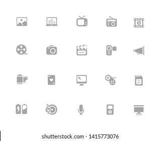Multimedia Icons // 32 pixels Icons White Background - Vector icons designed to work in a 32 pixel grid at ten percent.