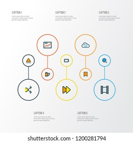 Multimedia icons colored line set with eject, search, video and other randomize elements. Isolated vector illustration multimedia icons.