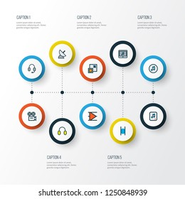 Multimedia icons colored line set with enlarge, pause, camera and other earmuff elements. Isolated vector illustration multimedia icons.