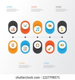 Multimedia icons flat style set with archive, philharmonic, samba and other audio elements. Isolated vector illustration multimedia icons.