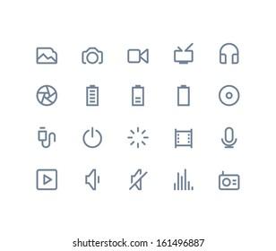 Multimedia icons. Line series