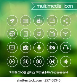 Multimedia icons on blurred background