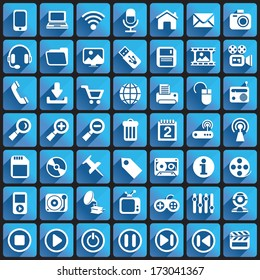 Multimedia Icons on Square Buttons.