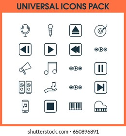 Multimedia Icons Set. Collection Of Extract Device, Start Song, Gramophone And Other Elements. Also Includes Symbols Such As Back, Synthesizer, Gramophone.