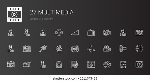 multimedia icons set. Collection of multimedia with film reel, web development, journalist, cinema, video camera, camera, share, tv, photo camera. Editable and scalable multimedia icons.