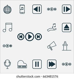 Multimedia Icons Set. Collection Of Following Music, Mute Song, Dance Club And Other Elements. Also Includes Symbols Such As Octave, Tribune, Play.