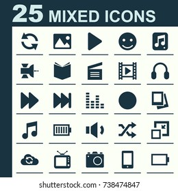 Multimedia Icons Set. Collection Of Television, Earmuff, Forward And Other Elements. Also Includes Symbols Such As Gallery, Television, Learning.