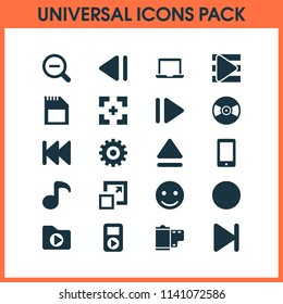 Multimedia icons set with slow backward, record, eject and other song list elements. Isolated vector illustration multimedia icons.