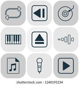 Multimedia icons set with synthesizer, dj disc, eject button and other document elements. Isolated vector illustration multimedia icons.