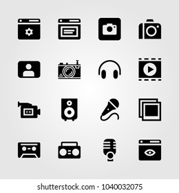 Multimedia icons set. Vector illustration photo, video camera, cassette and boombox