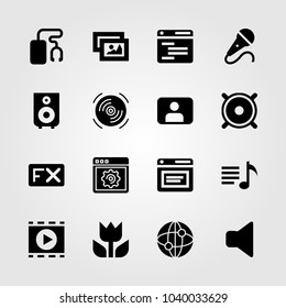 Multimedia icons set. Vector illustration picture, speaker, mic and microphone