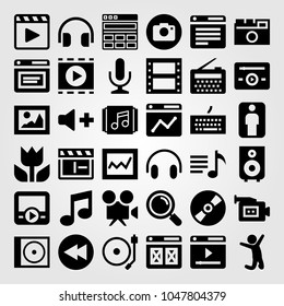 Multimedia icons set. Vector illustration man, keyboard, radio and loupe