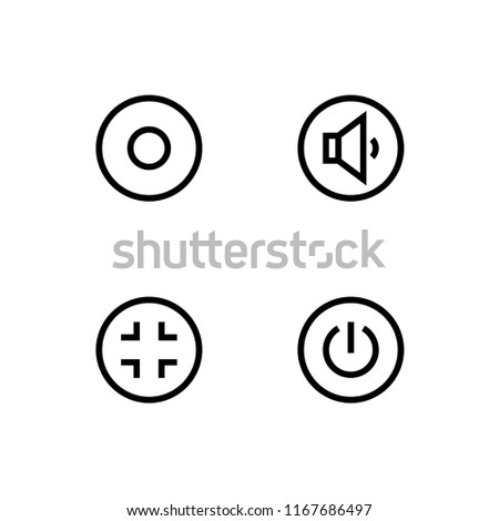 Multimedia Player Control Buttons Set Outline Stock Vector