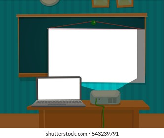 Multimedia projector presenting the classroom. Vector flat color illustration isolated.