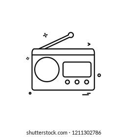 multimedia radio radio station retro technology vintage icon vector desige