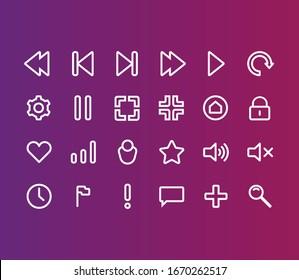 Multimedia set of flat icons