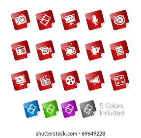 Multimedia  // Stickers Series -------It includes 5 color versions for each icon in different layers ---------