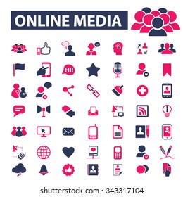 multimedia technology, interactive online media, audio video player, digital equipment, camera, tv, streaming, smart communication, telecommunications, application internet icons, signs vector