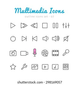 Multimedia thin linear icons set  for web and mobile application. Photo, video, music, control elements
