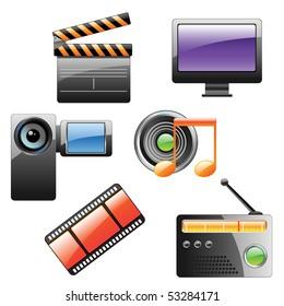 multimedia vector icon set