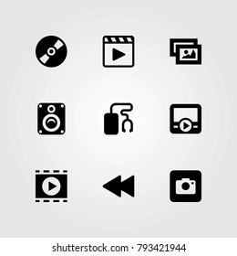 Multimedia vector icons set. photo camera, rewind and compact disc