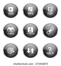 Multimedia Web Internet Black Vector Button Icon Design Set