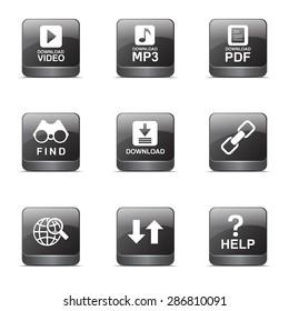 Multimedia Web Internet Square Vector Black Button Icon Design Set