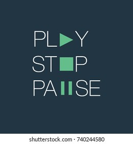 multimedia words play stop and pause typographics concept. written words with multimedia icons on dark background, lettering