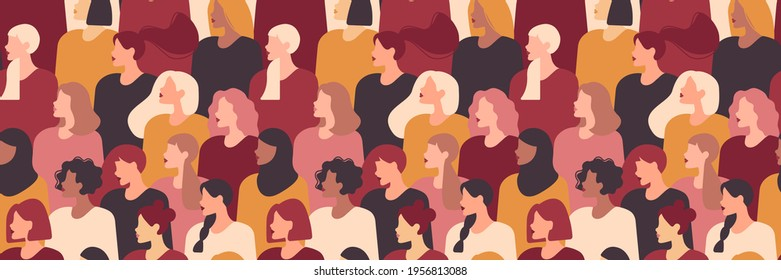 Multinational different beauty women seamless pattern. Different ethnicity women: African, Asian, Chinese, European, Latin American, Arab. Women's struggle for equality.