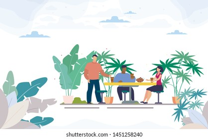 Multinational, Female, Male Office Colleagues on Meal Break, Group of Friends Lunching Together, Drinking Coffee at Table in Street Cafe of Coffee Shop with Outdoor Seats Flat Vector Illustration